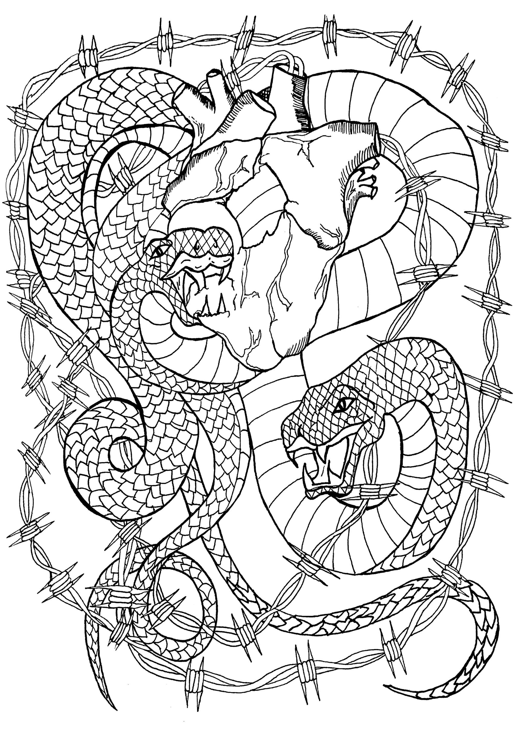 Deux serpents encerclés de barbelés dévorant un coeur encore battant
