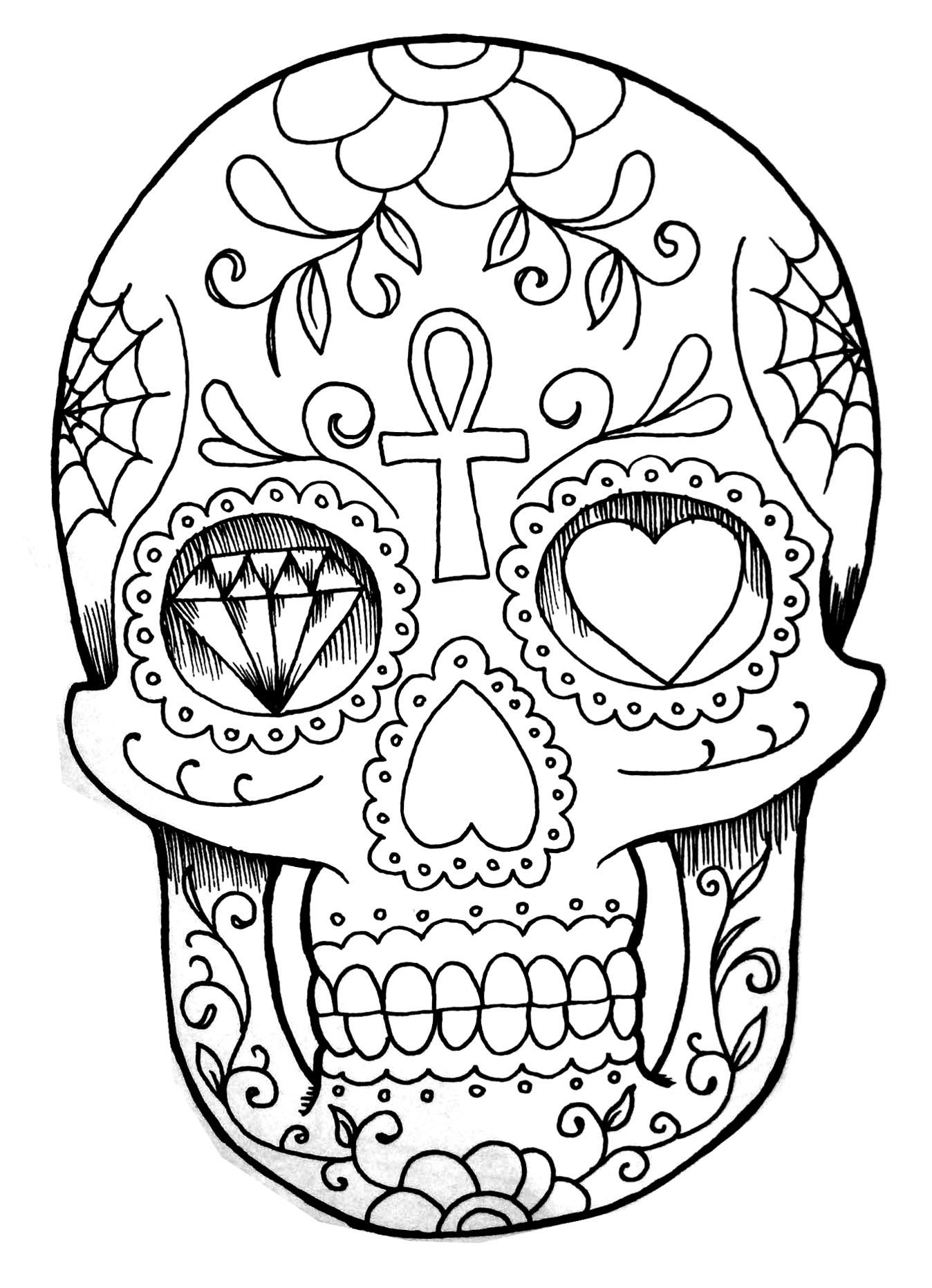 Coloriage d'un tatouage représentant un crâne doté de détails et symboles