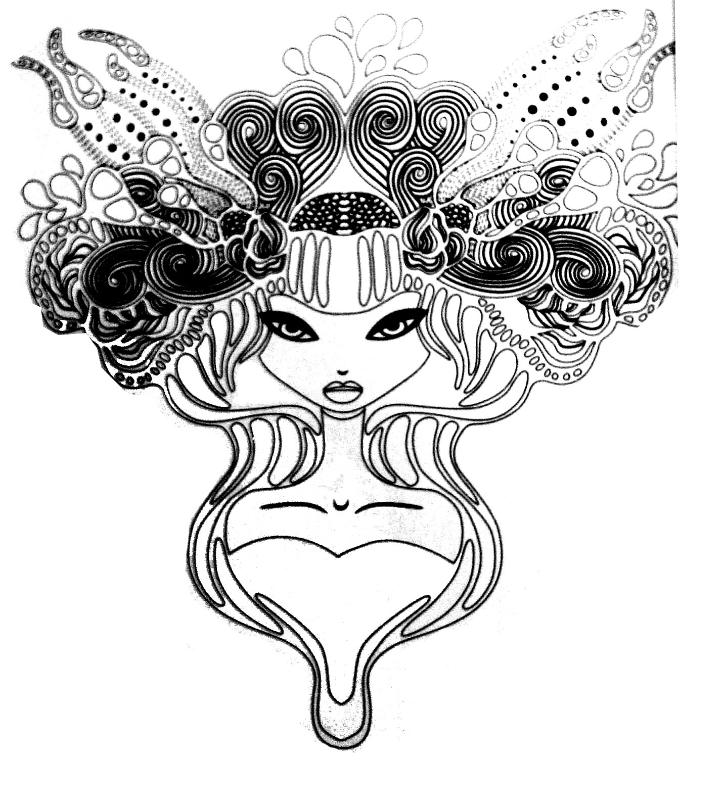 coloriage tatoo princesse free to print