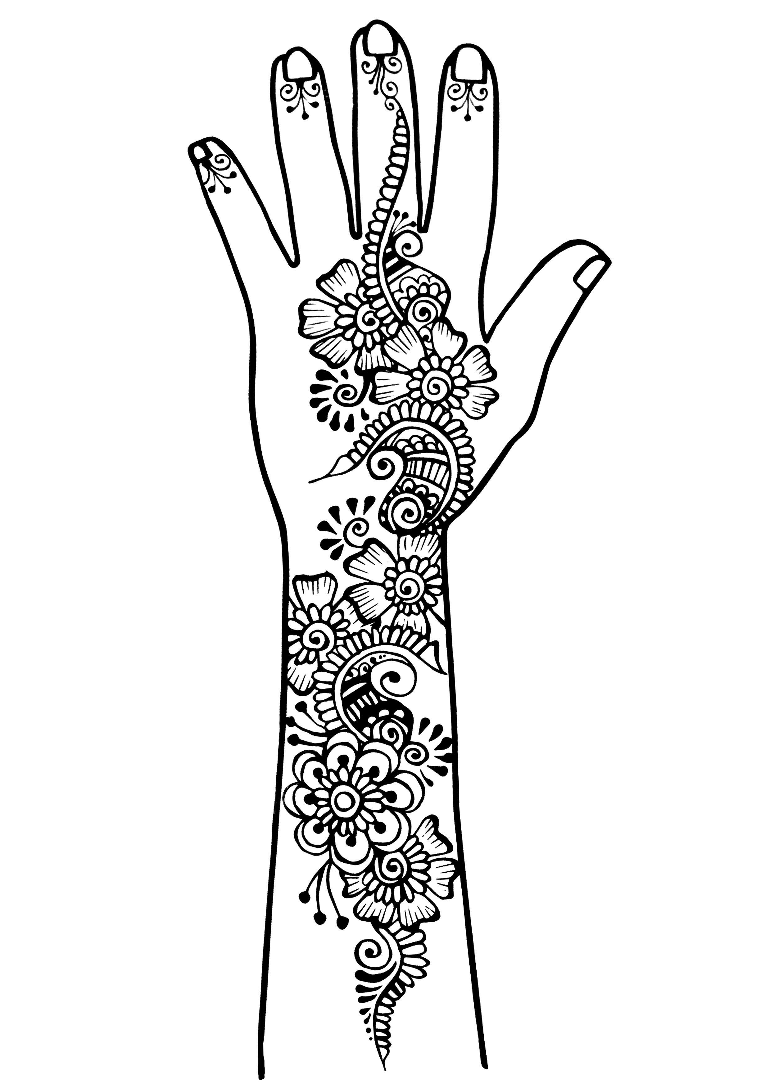 Tatouage de bras et main style oriental (traits fins)