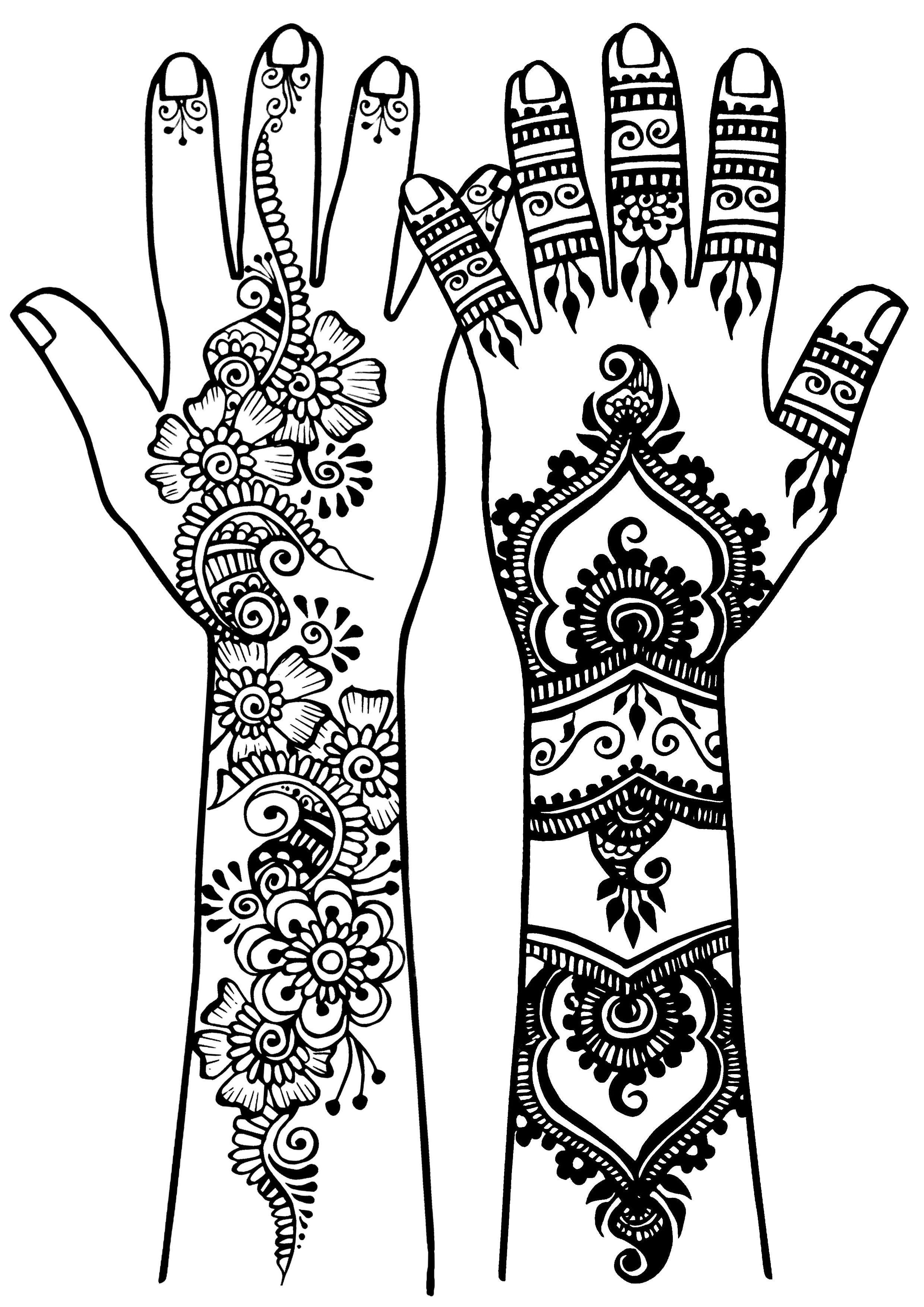 Tatouages de bras et mains style oriental