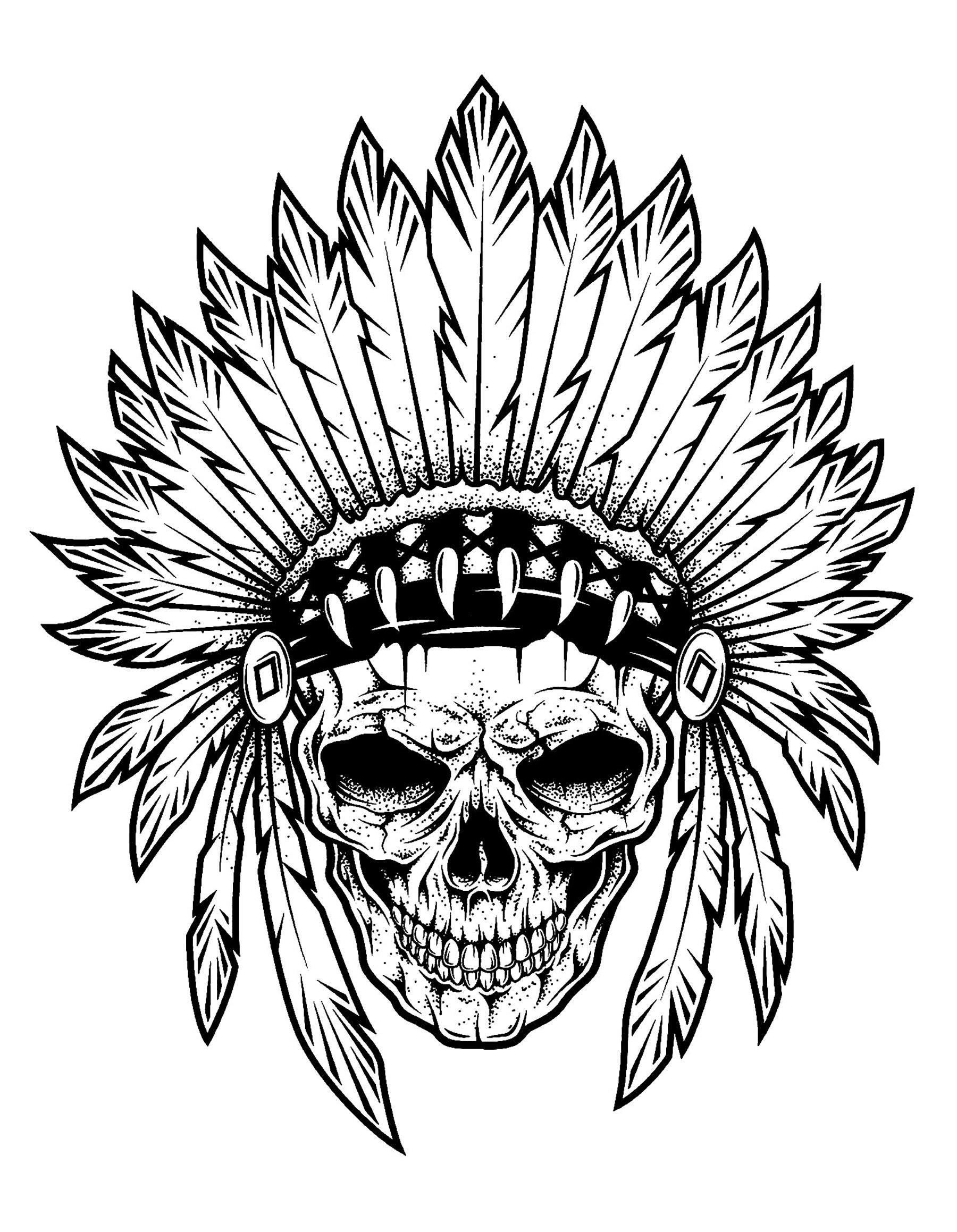 Tatouage chef indien squelette tatouages coloriages difficiles pour adultes - Tatouage crane indien ...