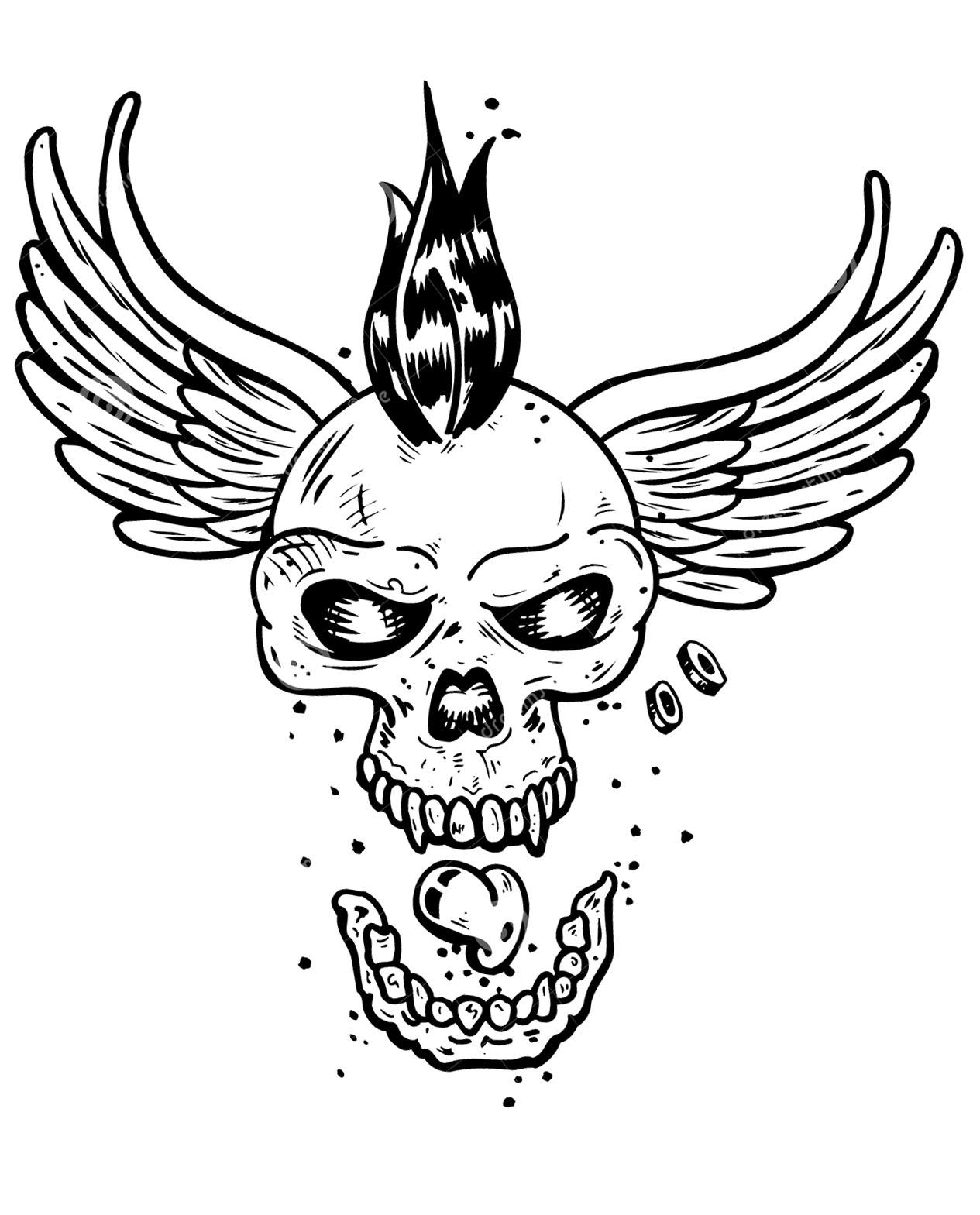 Tatouage crane squelette ailes tatouages coloriages difficiles pour adultes - Coloriage de crane ...