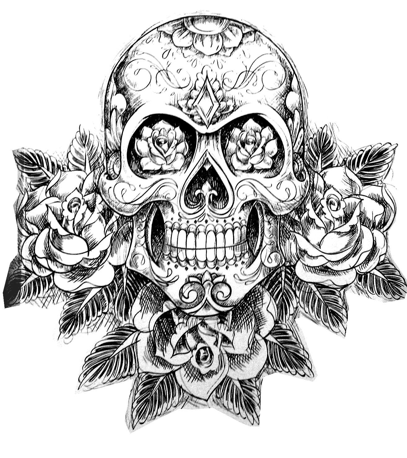 image de type tatoo dun crne accompagn de roses et autres dtails vgtaux