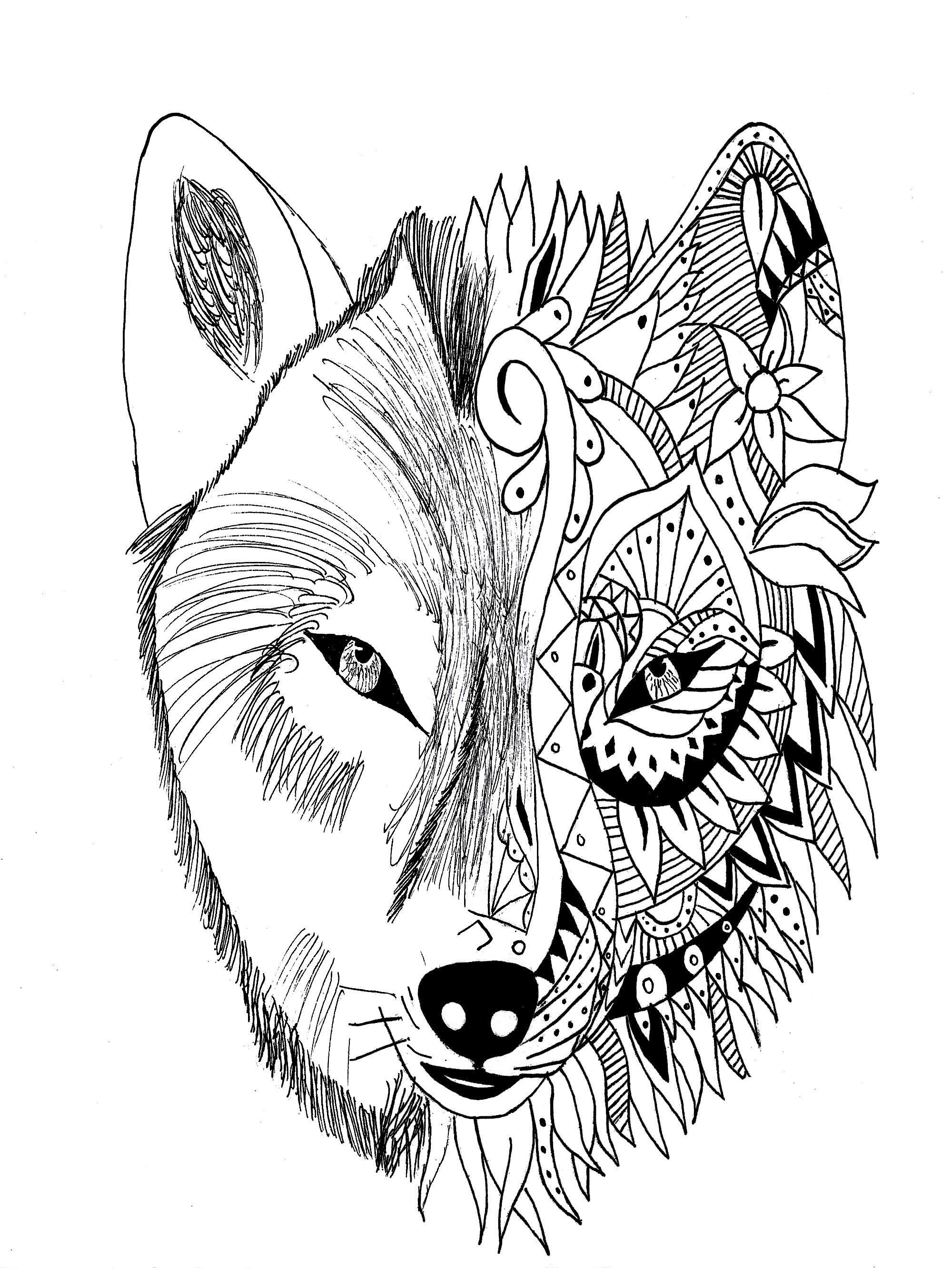 Fabuleux Tatouage loup krissy | Krissy - Coloriages difficiles pour adultes  SV41