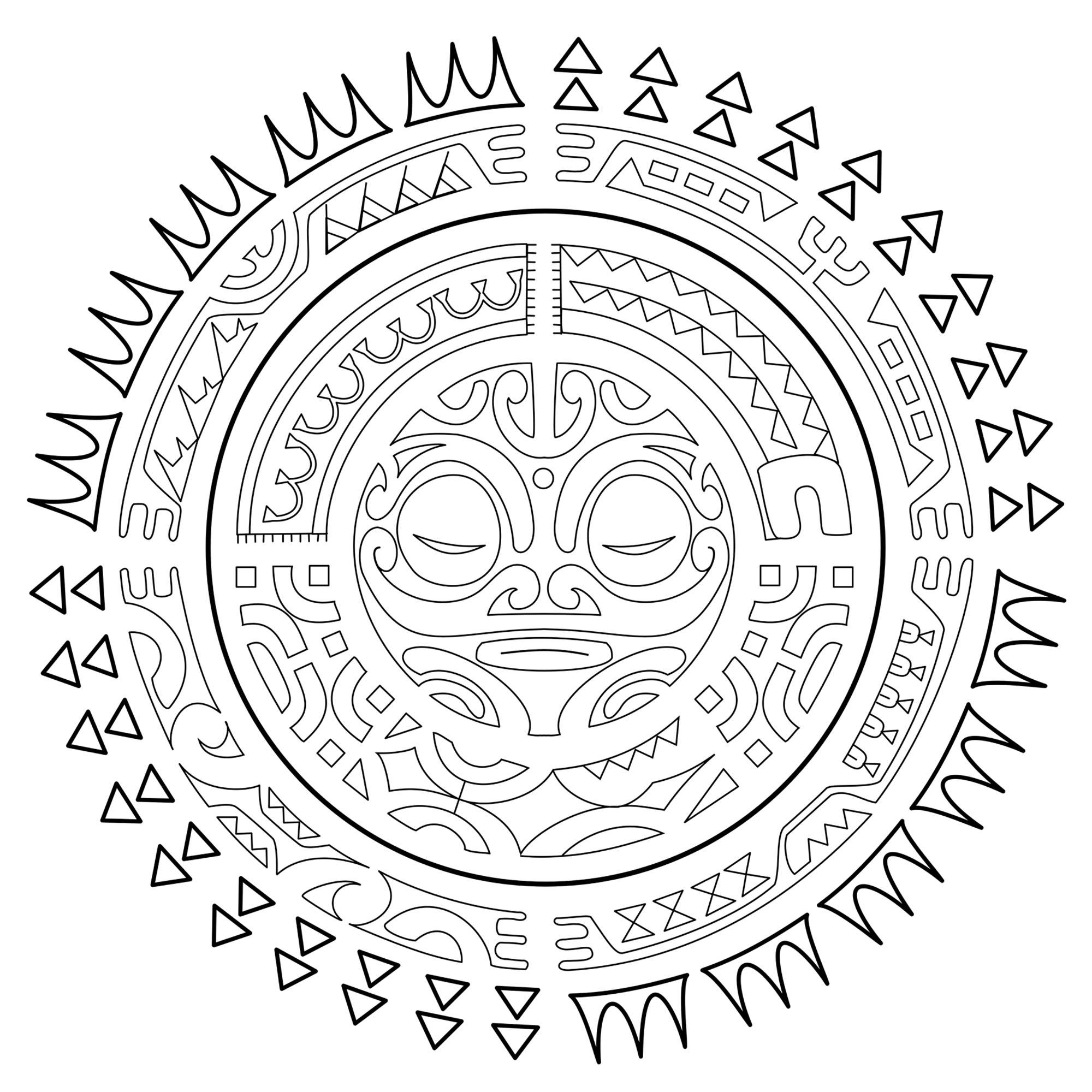 "Tatouage Polynesien : Le soleilColoriage issu du livre Polynesian Tattoos : 42 Modern Tribal Designs to Color and Explore par l'artiste italien Roberto ""GiErre"" Gemori.A découvrir ici : www.shambhala.com/polynesian-tattoos.html Site de l'artiste : Tattootribes.com"