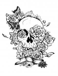 Coloriage adulte squelette et roses pour tatouage