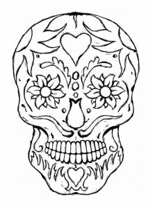 Coloriage adulte tatoo crane yeux fleuris