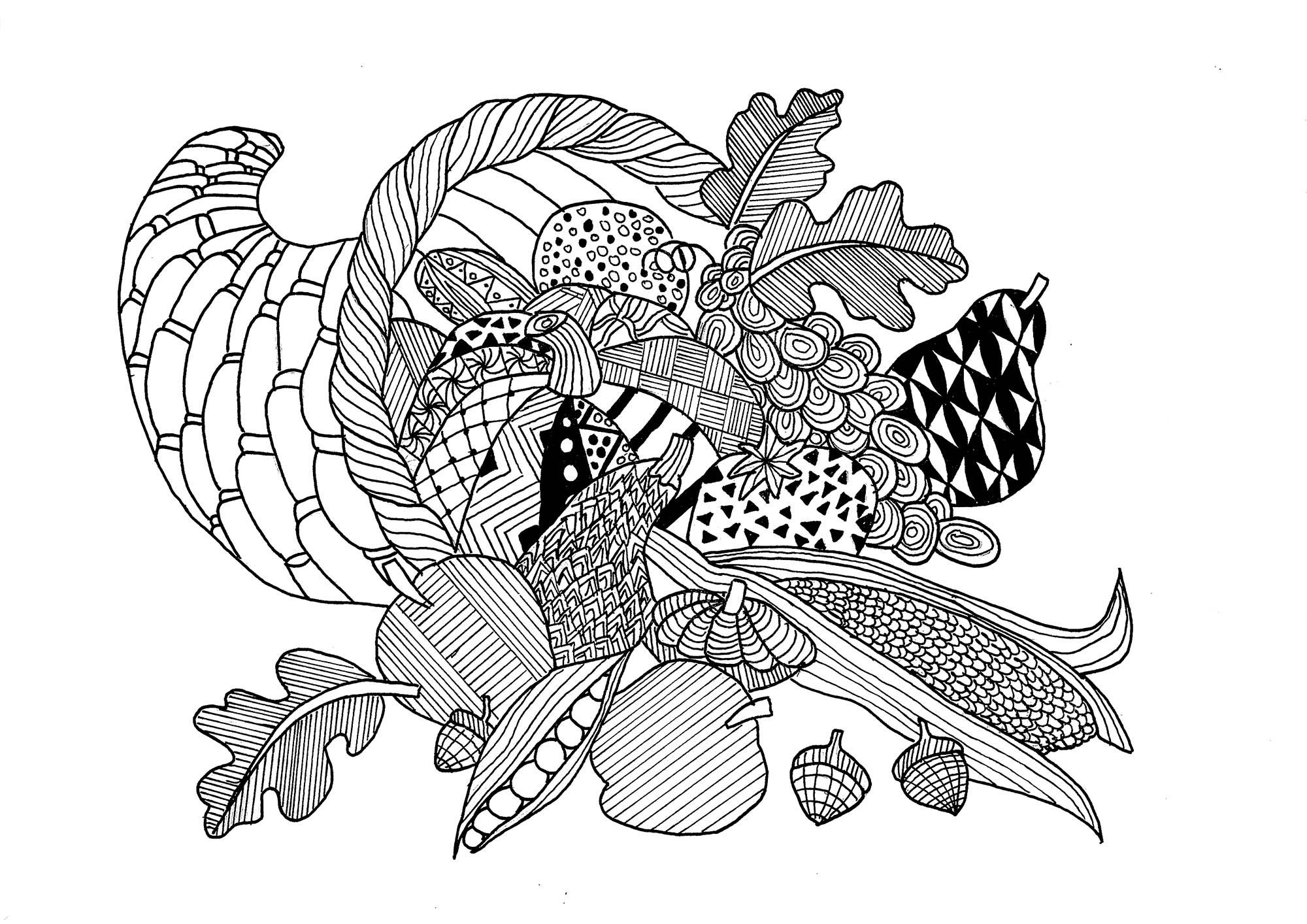 Voici un magnifique coloriage de corne d'abondance pour célébrer Thanksgiving