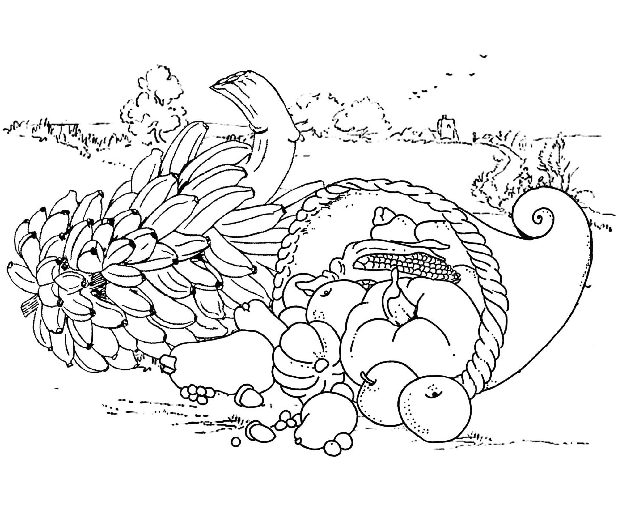 Un bon repas de Thanksgiving, et un coloriage assez simple