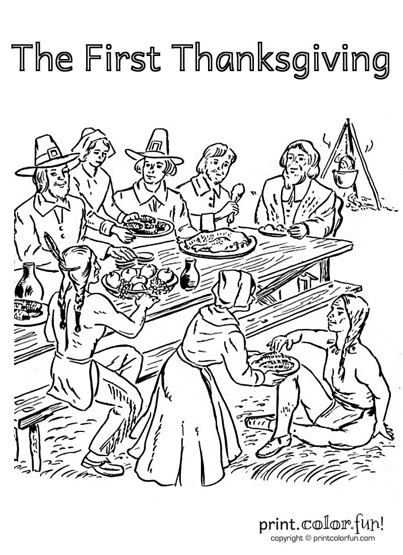 Un dessin représentant la première célébration de la Thanksgiving