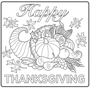 Coloriage thanksgiving corne d abondance