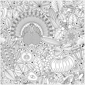 Coloriage thanksgiving dinde et aliments