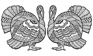 Coloriage thanksgiving zentangle dinde en double par Elena Medvedeva