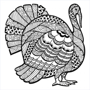 Coloriage thanksgiving zentangle dinde par Elena Medvedeva