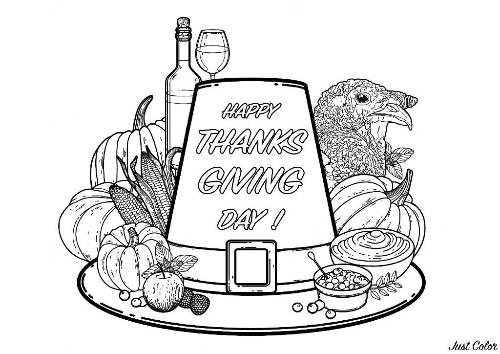 Coloriage simple avec un bon plat parfait pour fêter Thanksgiving : Maïs, Citrouille, et bien sûr Dinde !