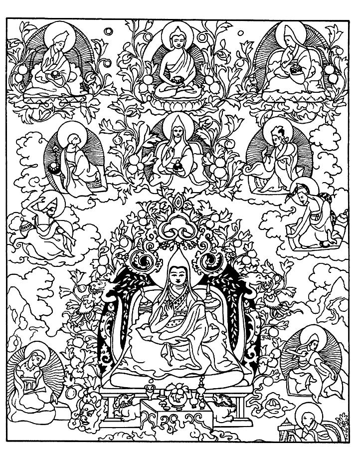 Image de divinités (Bouddhisme) à imprimer et colorier