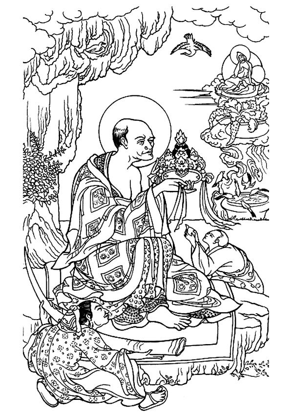 Un sage Tibétain en tenue traditionnelle