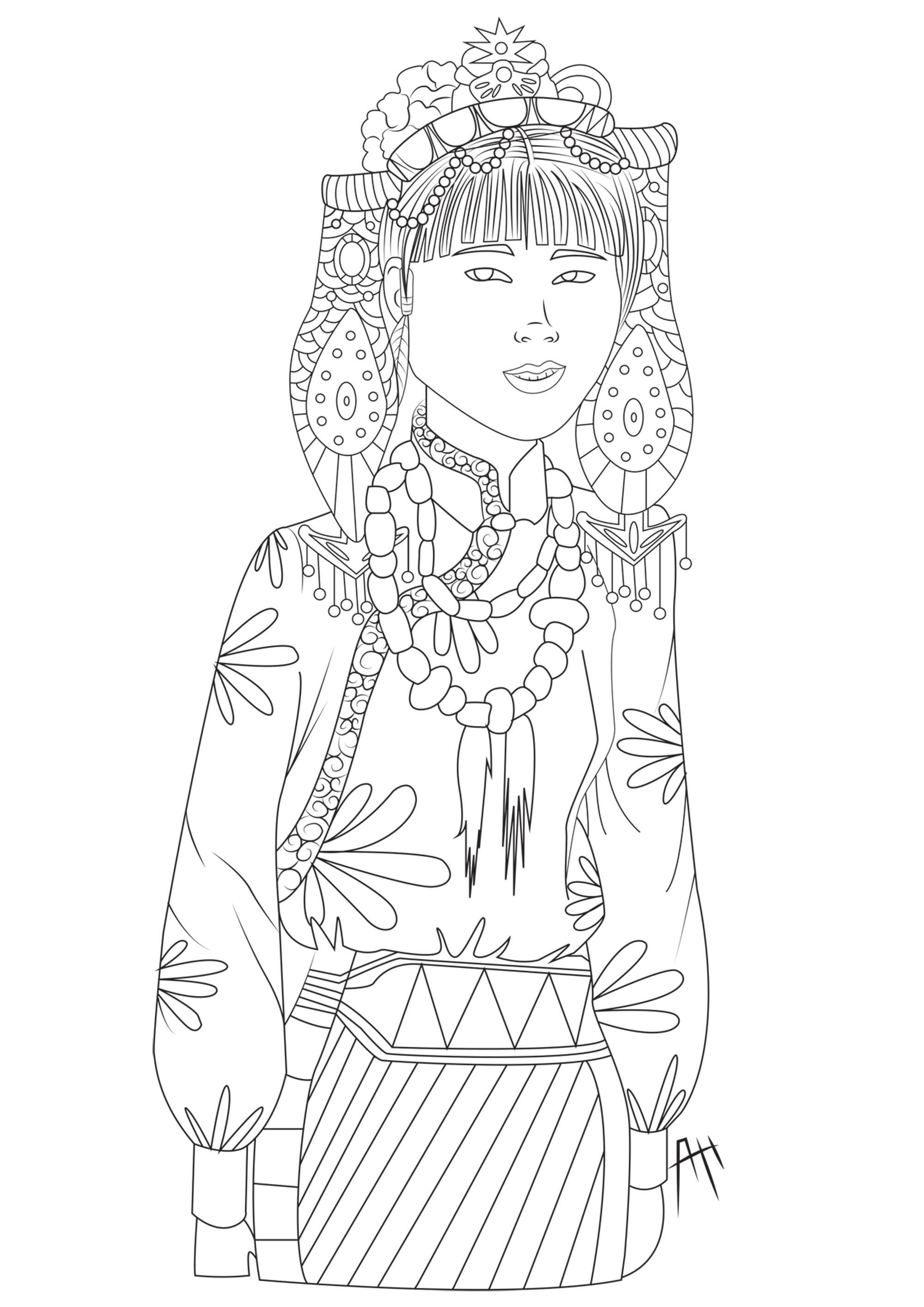 Femme tibétaine dans son costume traditionnel