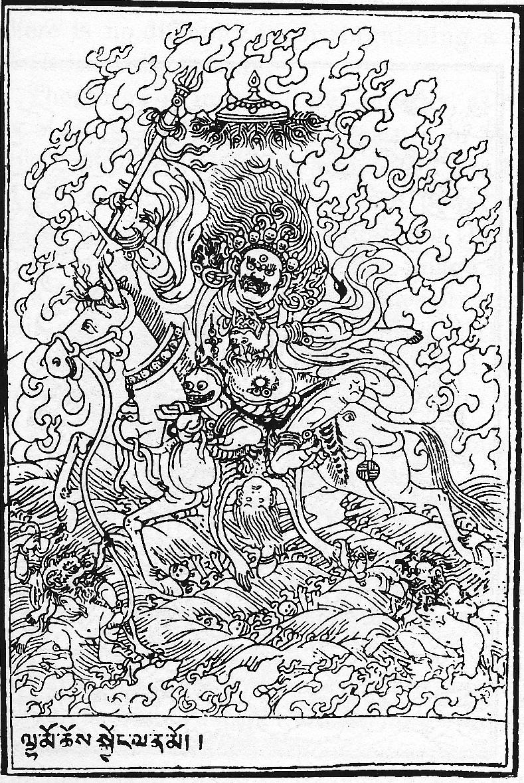 Coloriage de Palden Llhamo : dharmapala protecteur des enseignements de Bouddha