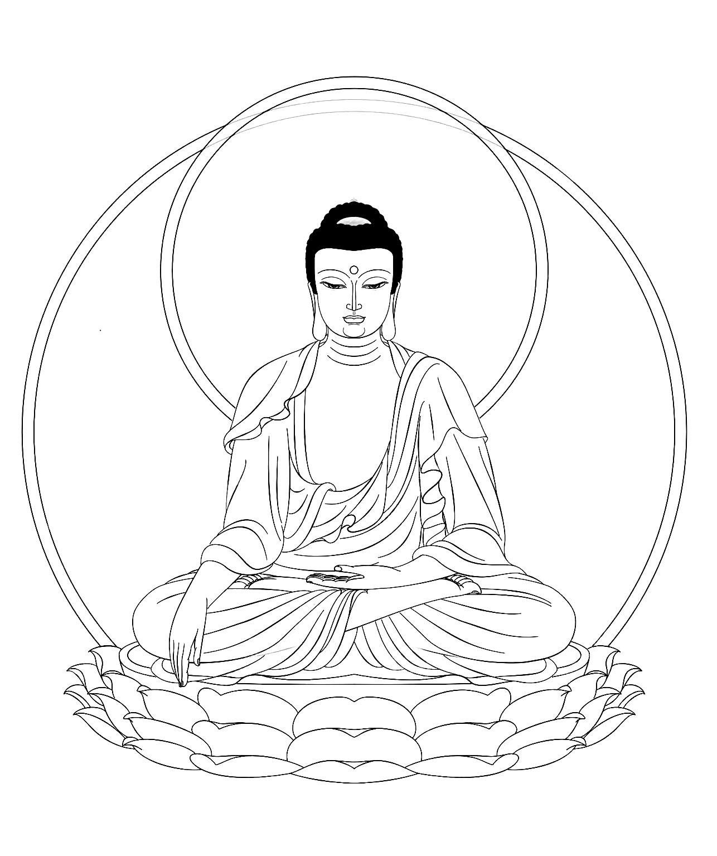 Dessin du roi Buouddha assez simple à colorier, pour un moment de zénitudeA partir de la galerie : Tibet