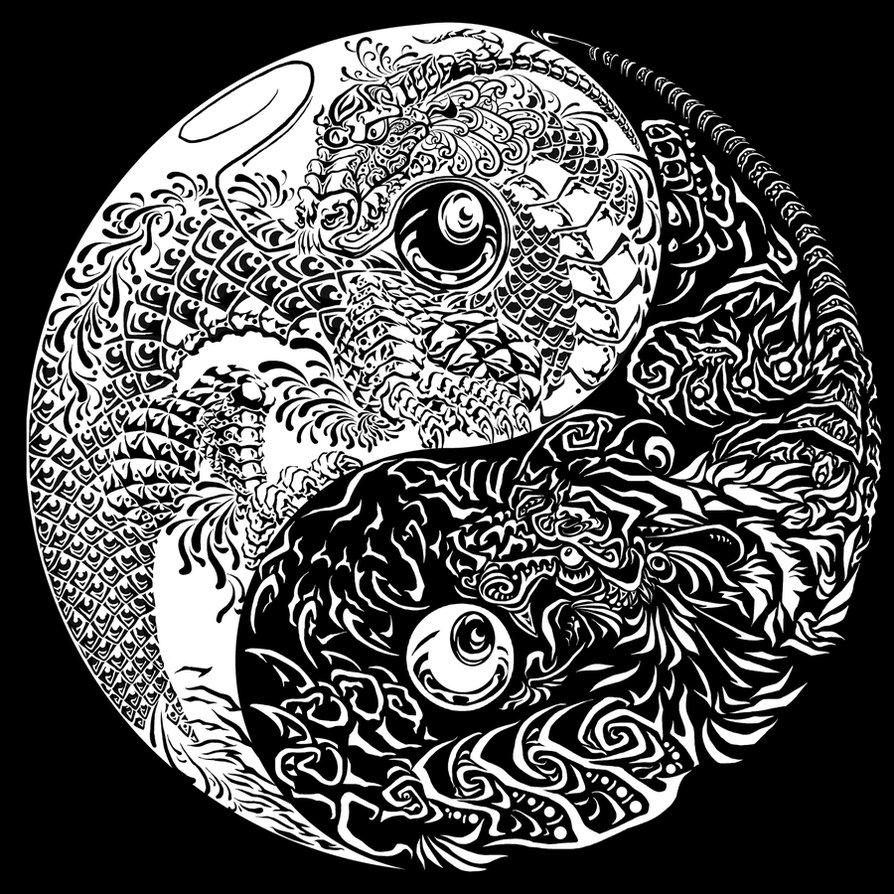 Coloriage de Yin et Yang avec deux dragons