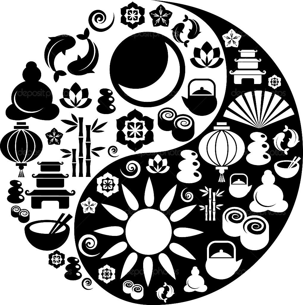 Coloriage adulte Yin et Yang avec symboles chinois et tibétains