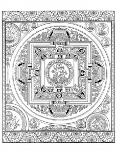 Coloriage adulte mandala tibetain