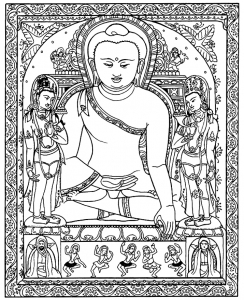 coloriage adulte tibetain bouddha