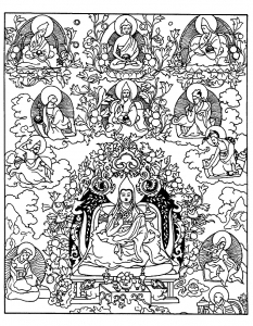 coloriage adulte tibetain divinites