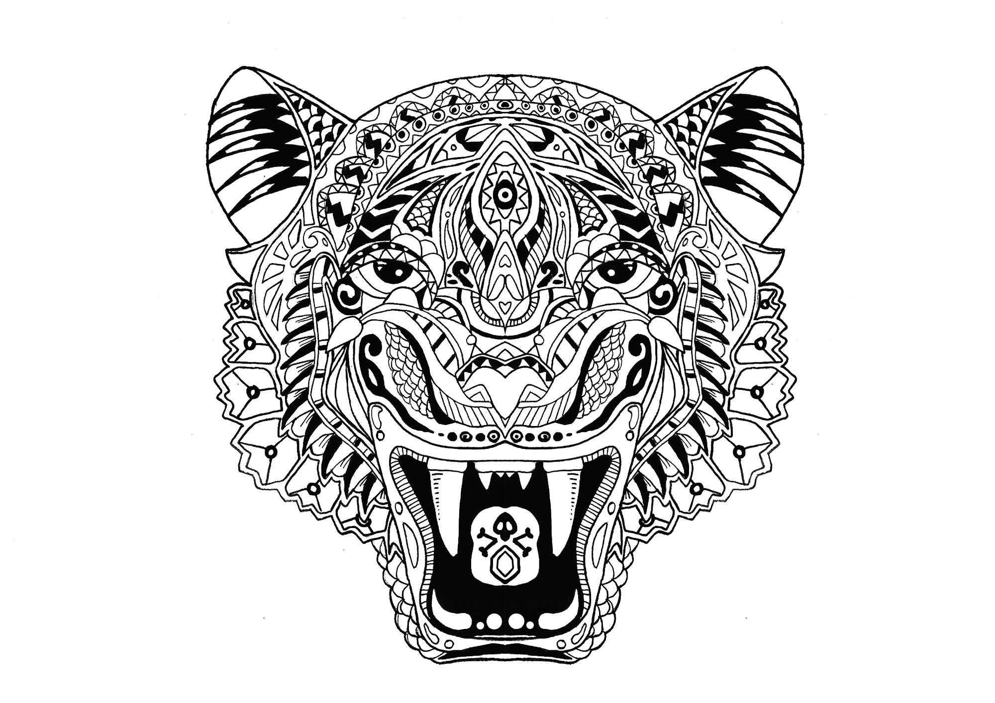 Tigre tigres coloriages difficiles pour adultes - Tigre a colorier ...