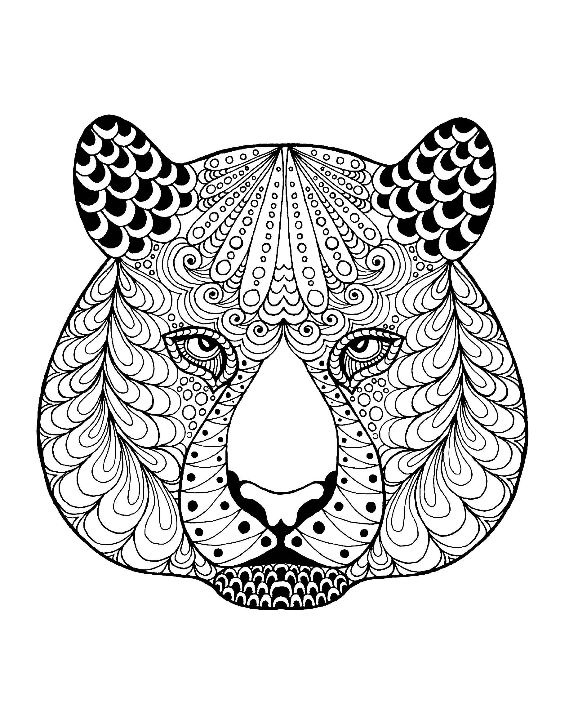 Tete de tigre et motifs tigres coloriages difficiles - Mandalas de tigres ...