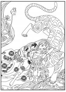 Coloriage fille au tigre celine
