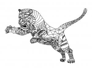 Coloriage tigre et motifs geometriques