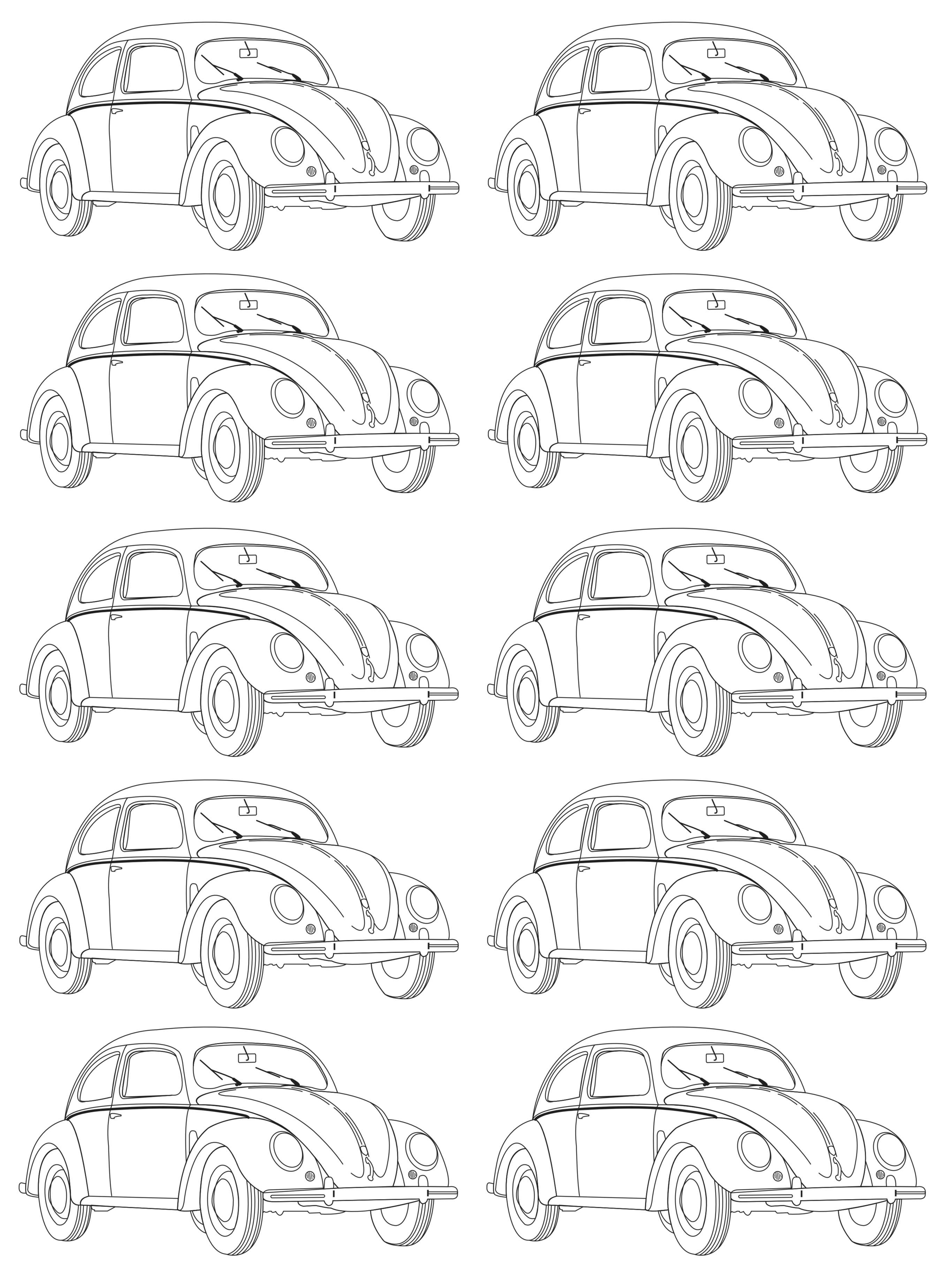 Mosaique Coccinelle Volkswagen Vintage Coloriages Difficiles
