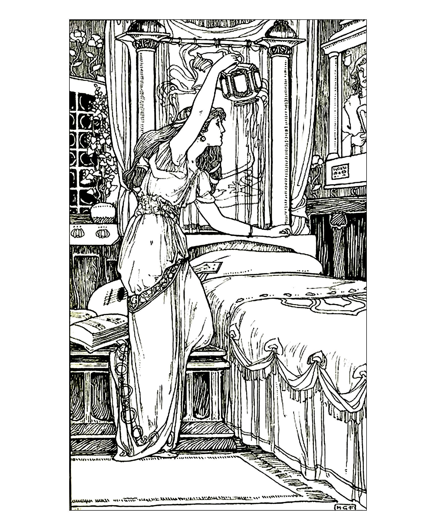 Coloriage Adulte Vintage.Vintage Dessin Femme Lampe Vintage Coloriages Difficiles Pour