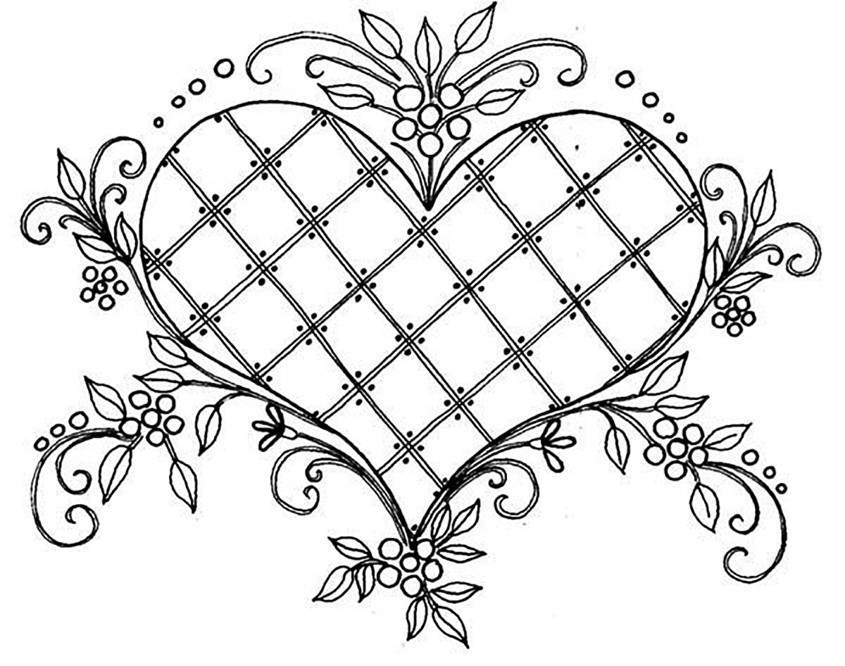 coloriage coeur style vintage free to print