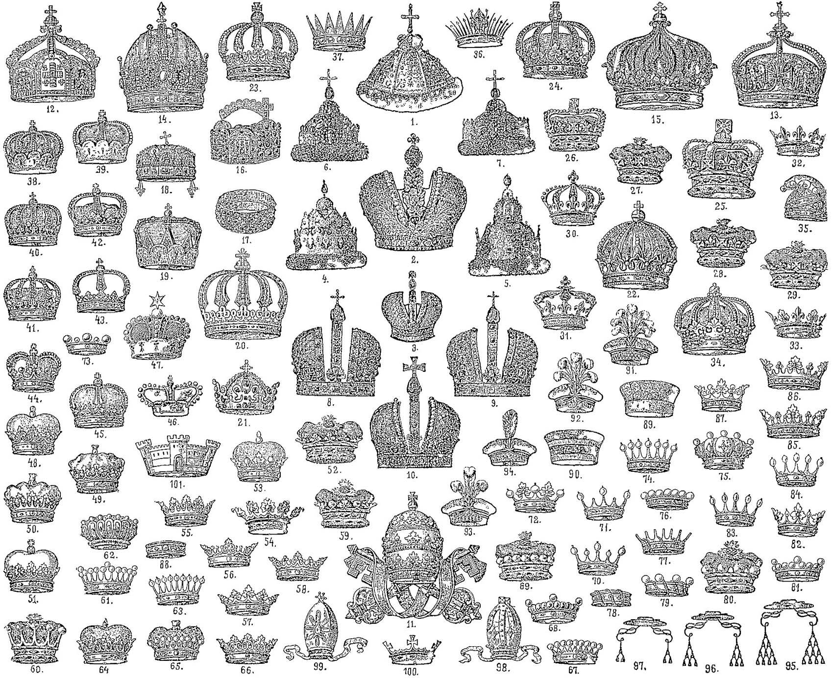 Gravure de couronnes, un coloriage très royal à réaliser