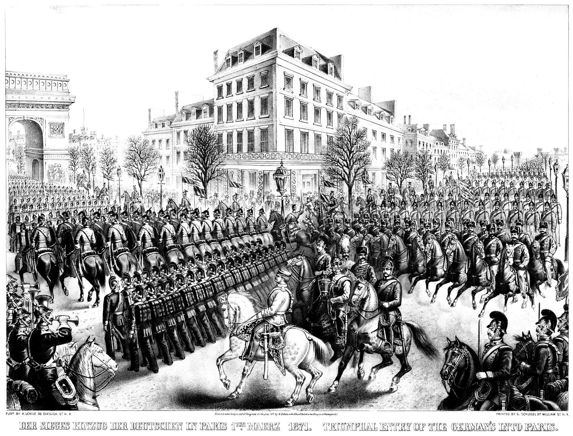 Représentation de 1870 de l'entrée des Allemands dans la ville lors du siège de Paris