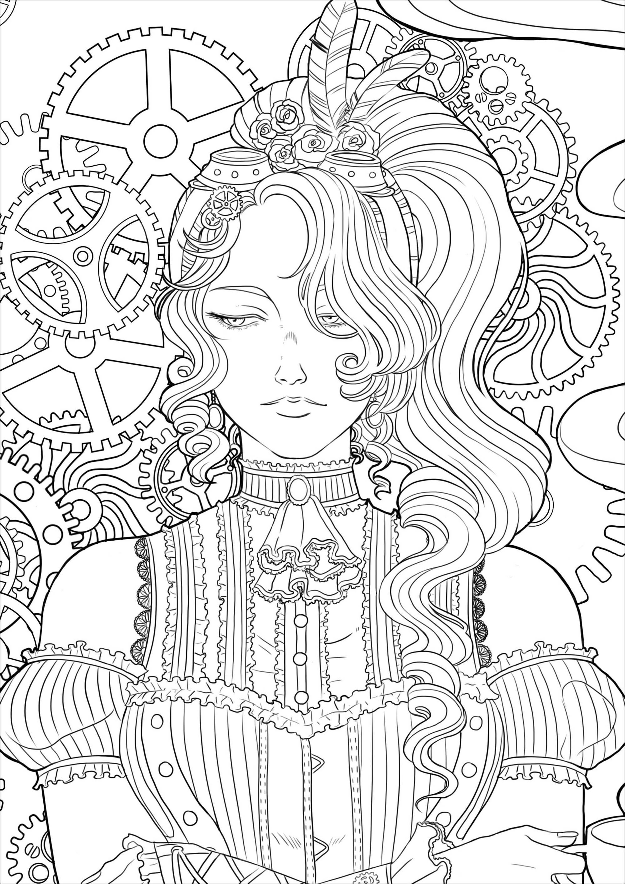 Coloriage d'une jeune femme mélancolique avec une tasse de thé, le tout dans un environnement victorien et des mécanismes. Version 3