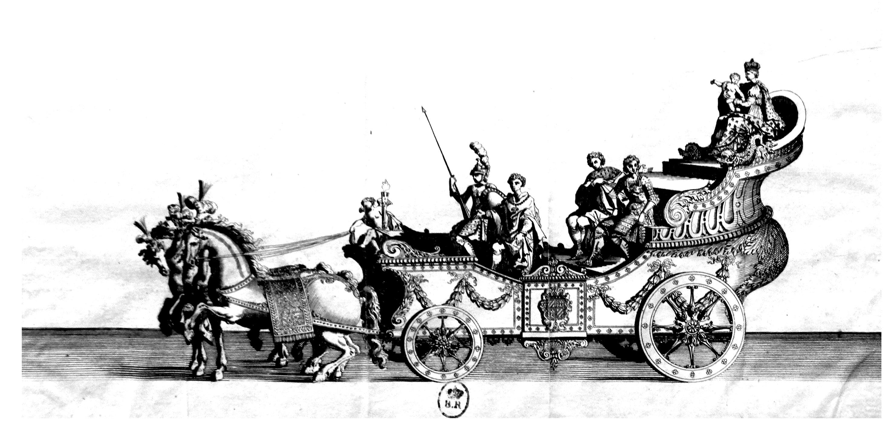 Gravure datant de 1682 : Parade en carrosse pour la naissance du Duc de Bourgogne. Très détaillé, cet ancien dessin peut être colorié