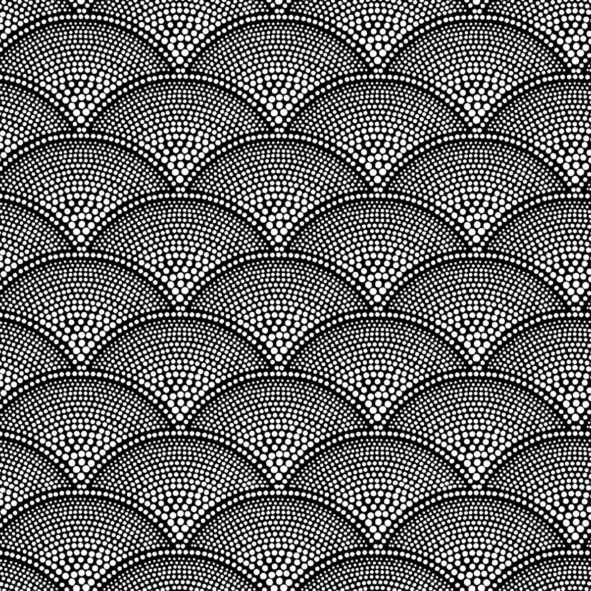 Un papier peint ancien mis en noir & blanc et négatif : plein de petites zones circulaires à colorier ! Attention patience requise !