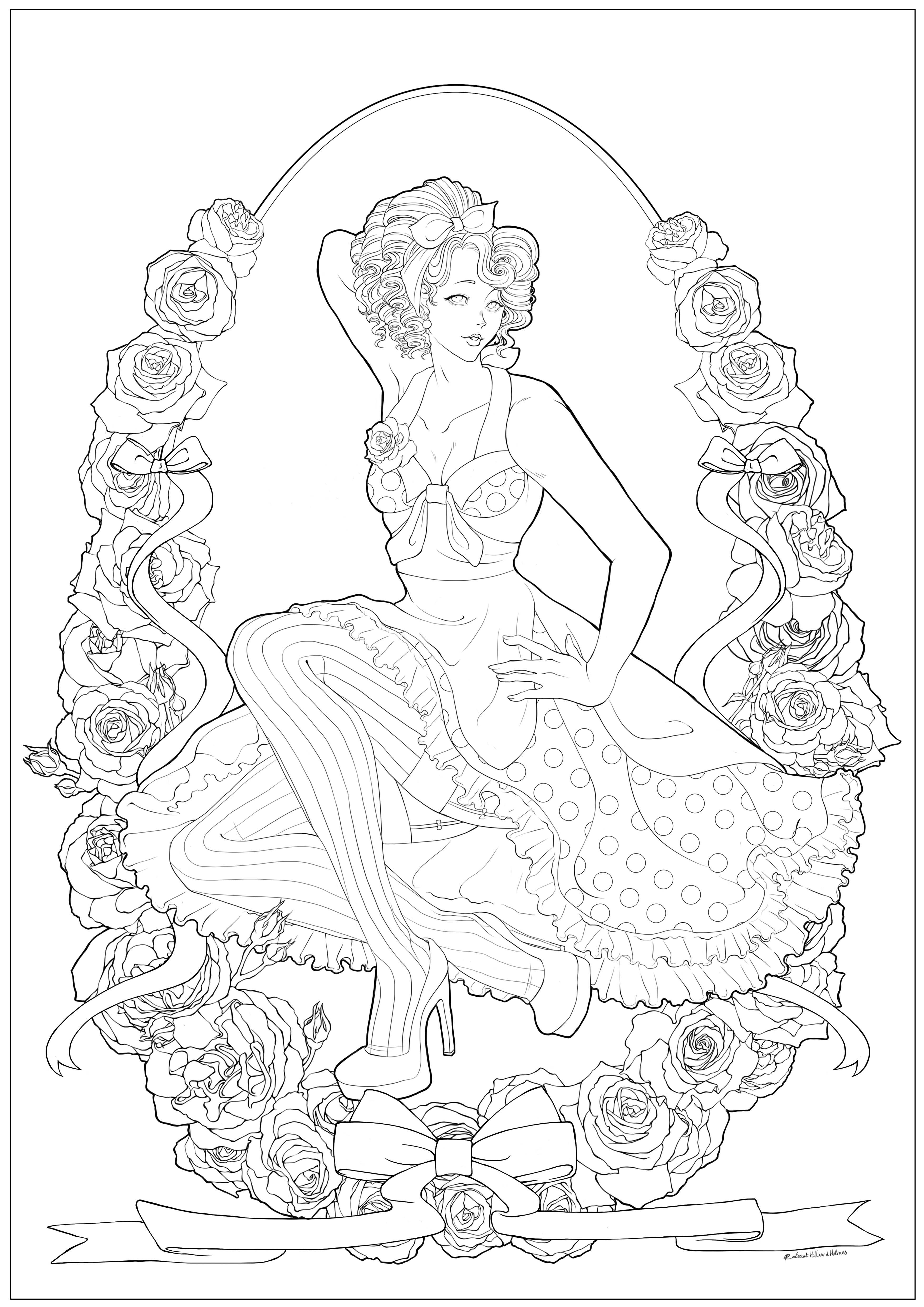 Coloriage d'une jeune femme dans le style pin up années 50