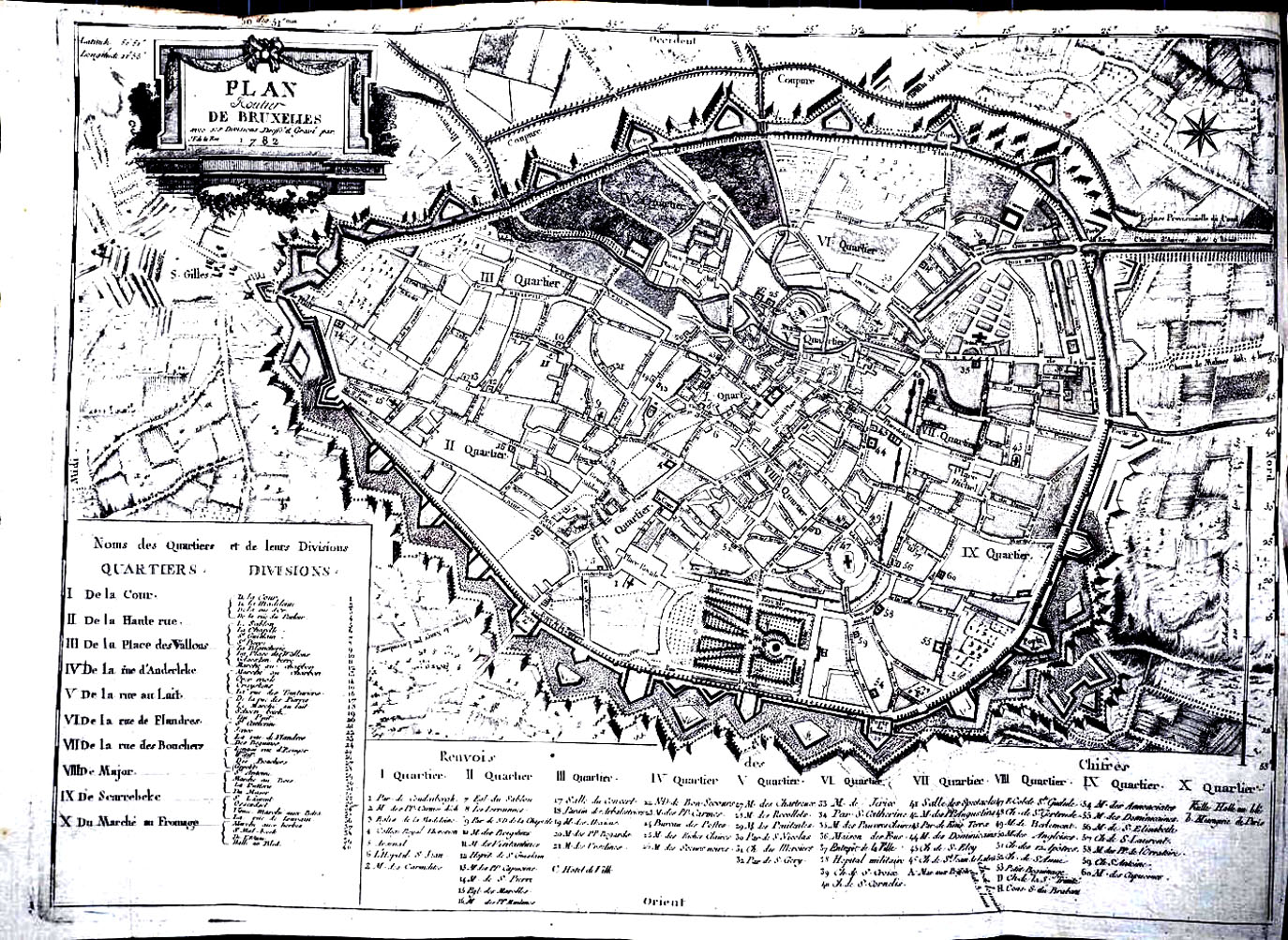 Plan du Bruxelles de 1783. Les zones étant bien délimitées, parfait pour un coloriage complexe