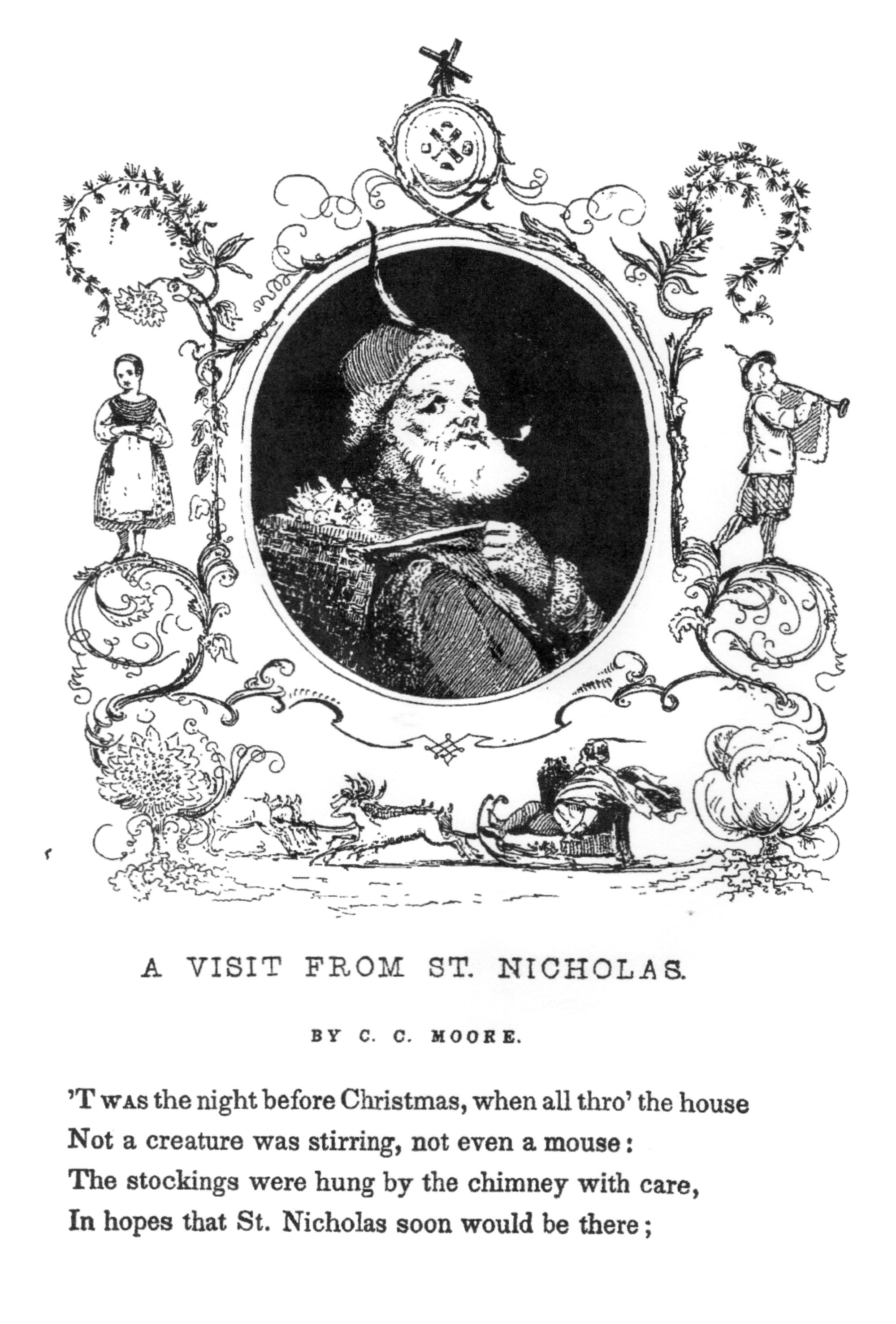 Voici la toute première représentation de Santa Claus (Père Noël) en 1840. Cette image peut être coloriée pour Noël, ou à toute autre période de l'année !