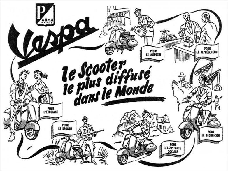 Pub vespa vintage vintage coloriages difficiles pour adultes - Dessin annee 60 ...