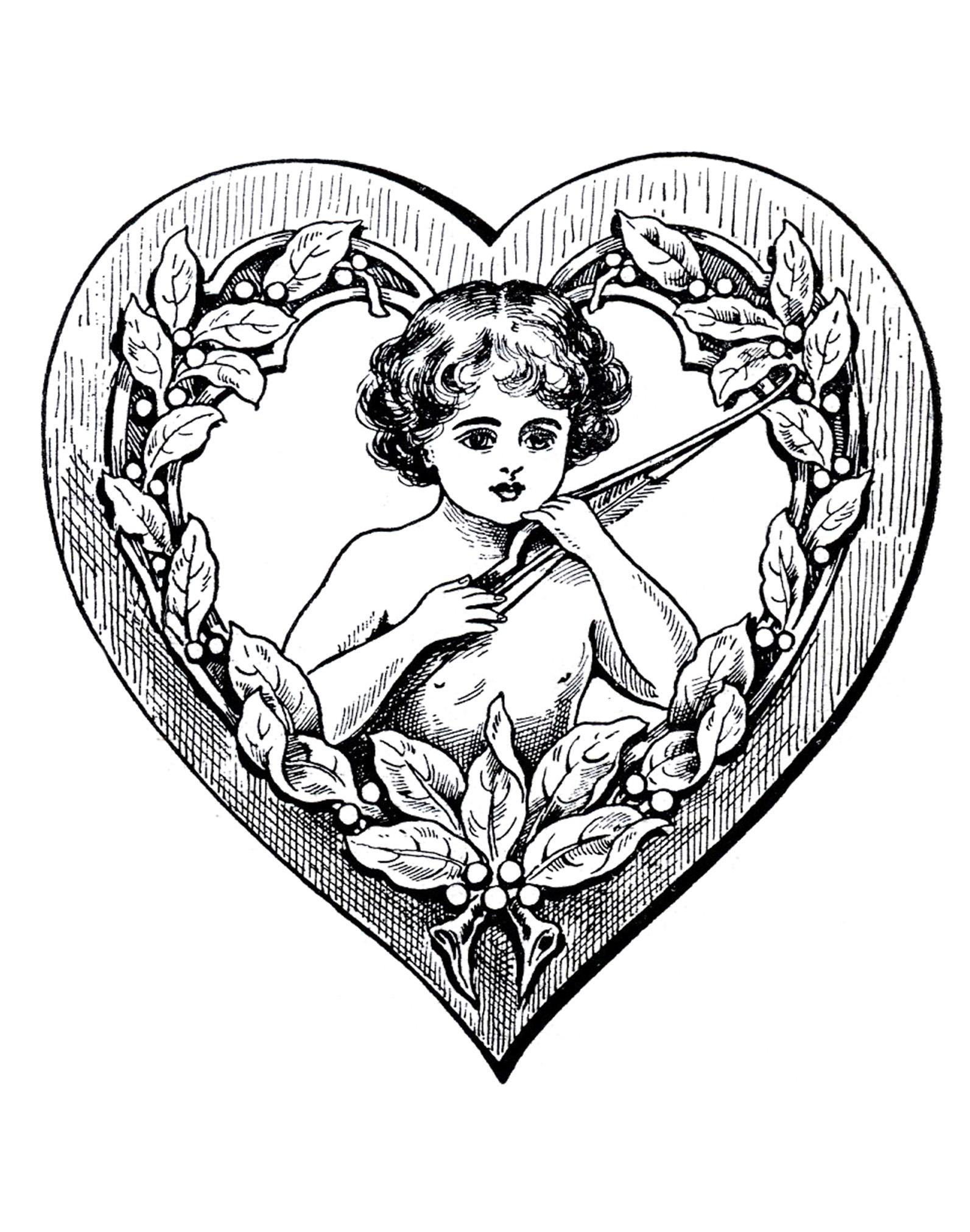 Cupidon dans un coeur, un dessin très Vintage pour célébrer l'Amour