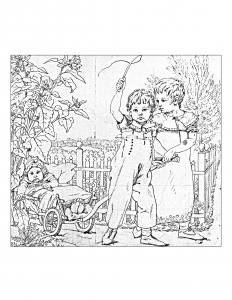 Coloriage adulte dessin enfants vintage