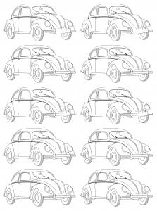 Coloriage Coccinelle Volkswagen.Vintage Coloriages Difficiles Pour Adultes