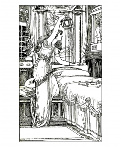 coloriage-adulte-vintage-dessin-femme-lampe free to print